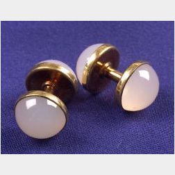 14kt Gold and Chalcedony Cuff  Links