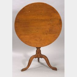 Queen Anne Tiger Maple, Maple, and Birch Tilt-top Tea Table
