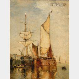 Paul Jean Clays (Belgian, 1817-1900)      Sailing Vessels at Dock
