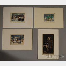 Four Works:      William Merritt Chase (American, 1849-1916), Portrait of Frank Duveneck/The Smoker