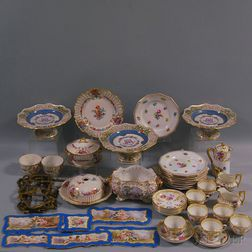 Forty-four Pieces of Continental Hand-painted Porcelain