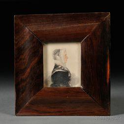 James Sanford Ellsworth (American, 1802/03-1874)      Small Portrait of a Woman Wearing a Ruffled Bonnet