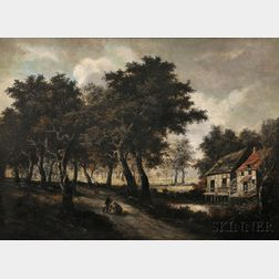 Manner of Meindert Hobbema (Dutch, 1638-1709)      Landscape with Two Hunters Pausing on Path Near a Small Watermill