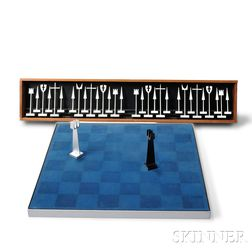 Austin E. Cox Aluminum Chess Set and Board
