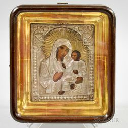 Framed Russian Icon Depicting the Madonna and Child