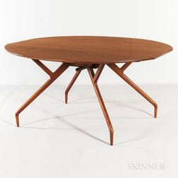 Greta Grossman for Glen of California Walnut Drop-leaf Table Spider Table