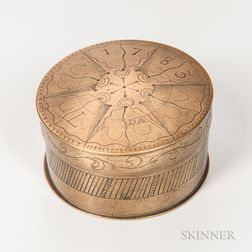 Clockmaker Daniel Steward's Engraved Brass Container or Box