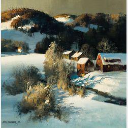 Thomas Andrew Nicholas (American, b. 1934)      Winter Shadows, Vermont