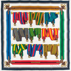 """Framed Hermes """"Sangles"""" Silk Scarf"""