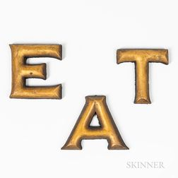 Three Carved and Gilt Letters