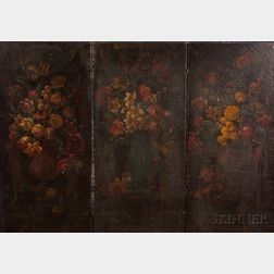 Victorian Painted Three-part Folding Floor Screen