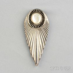 Sterling Silver, Onyx, and Mother-of-pearl Buckle, Erté
