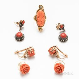 Three Pairs of Coral Earrings and a Carved Coral Cameo Ring