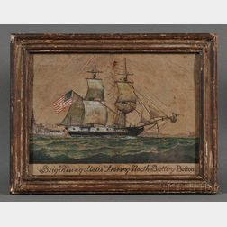 American School, Late 18th Century      Portrait of the Brig Rising States Leaving North Battery Bofton.