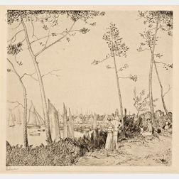 Jean-Emile Laboureur (French, 1877-1943)      La Promenade sur le port