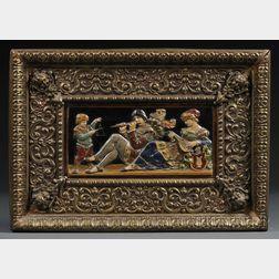 Wilhelm Schiller & Sons-style Majolica Relief Plaque