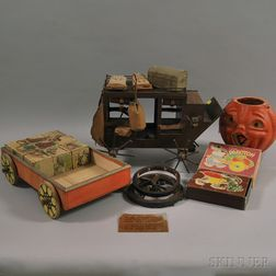 Toy Wooden Wagon, Lithograph Puzzle Blocks, Molded Papier-mache Jack O Lantern, a Wooden Stage Coach Model, and Three Bar Toter Sets,
