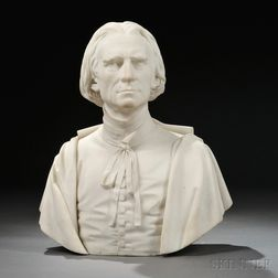 Thomas Ball (American, 1819-1911)       White Marble Bust of a Man, Possibly Franz Liszt