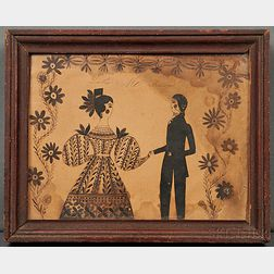 Folk Art Pen and Ink Drawing of a Man and Woman