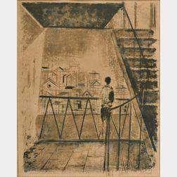Joseph Floch (American/Austrian, 1895-1977)      Figure on a Stairway