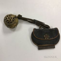 Portable Bronze Censer and Fire Striker in Leather Pouch