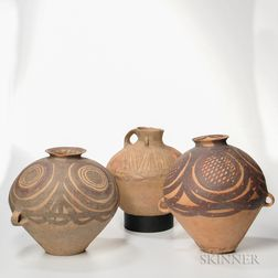 Three Red-painted Earthenware Jars