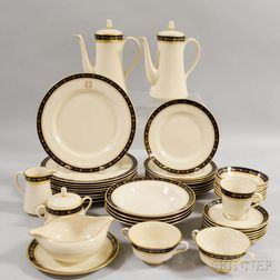 Extensive Group of Mostly Gorham Gilt and Cobalt-decorated Porcelain Dinnerware