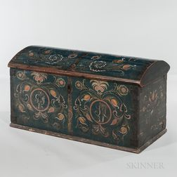Polychrome Painted Dome-top Dower Chest