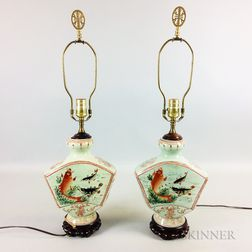 Pair of Export Porcelain Fish-decorated Vases