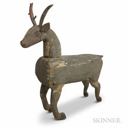 Carved and Painted Wood Deer