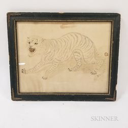 Framed Pen and Ink Calligraphic Picture of a Tiger