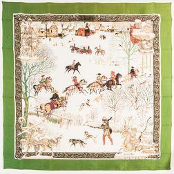 """Framed Hermes """"L'Hiver"""" Green Silk Scarf"""