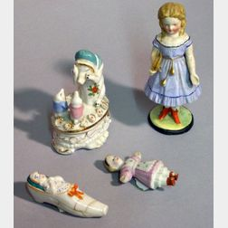 Four Bisque and China Novelty Items
