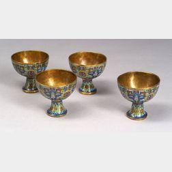 Four Cloisonné Stem Cups