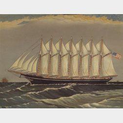 American School, Early 20th century,    Portrait of the Seven-Mast Steel Schooner Thomas W. Lawson.