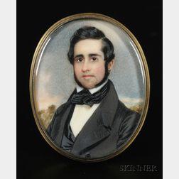 "American School, 19th Century      Portrait Miniature of a New England Gentleman ""J.W. Quincy."""