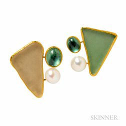 18kt and High-karat Gold and Sea Glass Earclips, Betsy Fuller