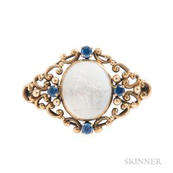 Antique Gold and Moonstone Intaglio Brooch