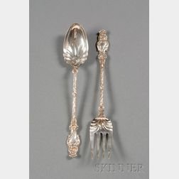 """Pair of Whiting Manufacturing Co. Sterling """"Lily"""" Pattern Salad Servers"""
