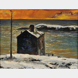 Andrew George Winter (American, 1893-1958)      Fishing Shack in Monhegan