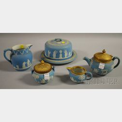 Five Pieces of Wedgwood Light Blue Jasper Dip Tableware