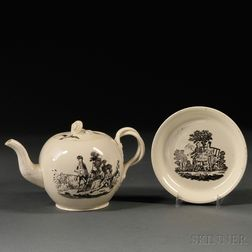 Two Staffordshire Cream-colored Earthenware Items