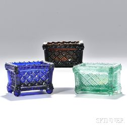 Three Pressed Glass Strawberry Diamond Pattern Open Salts