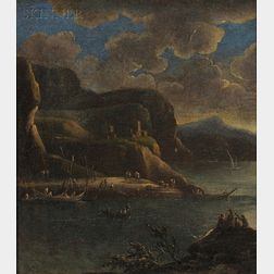 French School, 19th Century      Nocturnal Shore View of Fishing Boats by a Coast with Cliffs