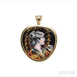 Art Nouveau 18kt Gold and Limoges Enamel Pendant