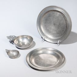 Two Pewter Plates and Two Pewter Porringers