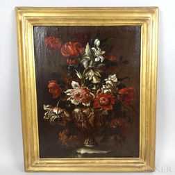 Continental School, 19th Century      Floral Still Life in a Classical Urn
