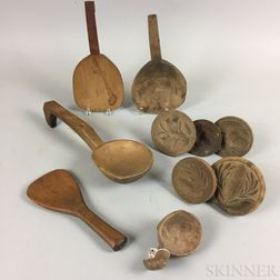 Ten Carved Wood Scoops, Paddles, and Butter Molds.     Estimate $150-250