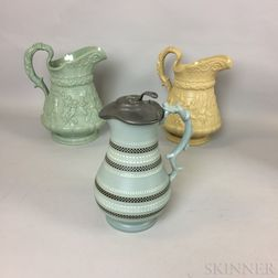 Two W. Ridgway & Co. Ceramic Pitchers and a Stourbridge Mosaic Pitcher