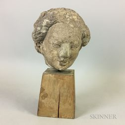 Gothic Limestone Carved Stone Head of a Woman